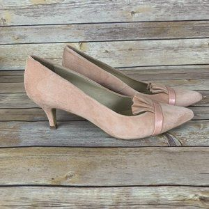 Anthropologie 38 Pink Suede Low Heeled Pointed Toe